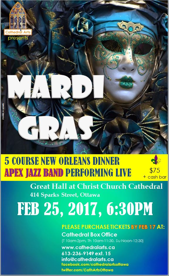 Mardi Gras dinner and music poster